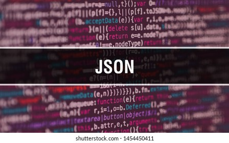 JSON with Abstract Technology Binary code Background.Digital binary data and Secure Data Concept. Software / Web Developer Programming Code and JSON. JSON Java Script Abstract Computer Script