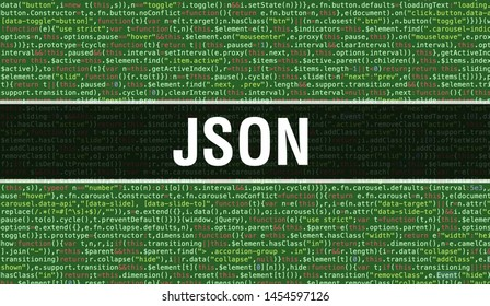 JSON text written on Programming code abstract technology background of software developer and Computer script. JSON concept of code on computer monitor. Coding JSON programming website