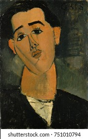 JUAN GRIS, by Amedeo Modigliani, 1915, Italian modernist painting, oil on canvas. Portrait of Spanish Cubist painter was made in Paris during WW1, after Modigliani, turned to painting due to wartime s