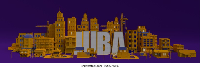 Juba lettering name, illustration 3d rendering city with buildings