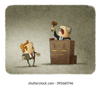 Judge with court hammer passing a sentence to a shocked man. Illustration.