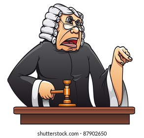 Judge with gavel for law concept design in cartoon style. Vector version also available in gallery