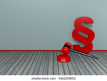 Judge gavel with paragraph sign on wooden floorboard. 3d rendering