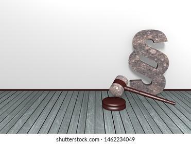 Judge gavel and stone paragrafenzeichen on wooden floor. 3d rendering