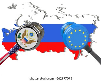 Judge hammer, European Union and United States of America sanctions against Russia, flag and emblem. 3d illustration. Isolated on white background. 2019.