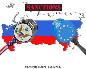 Judge hammer, European Union and United States of America sanctions against Russia, flag and emblem. 3d illustration. Isolated on white background.