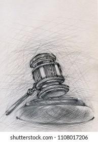Judge  hammer hand made illustration, black design, auction, judgment.