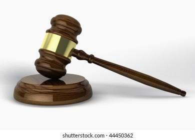 Judge hammer on white background.