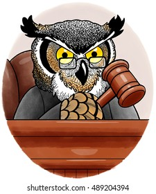 Judge Owl sits at the bench, gavel in hand.