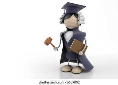 judge stands with a hammer on a white background