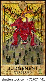 Judgement. Cerberus. Demon, mythological creature. Fantasy Creatures Tarot full deck. Major arcana. Hand drawn graphic illustration, engraved colorful painting with occult symbols