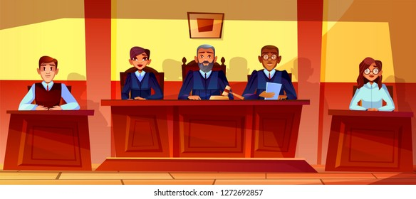 Judges at court hearing illustration of courtroom interior background. Prosecutor or advocate man, legal secretary woman or black Afro American assessor in glasses sitting at judge table