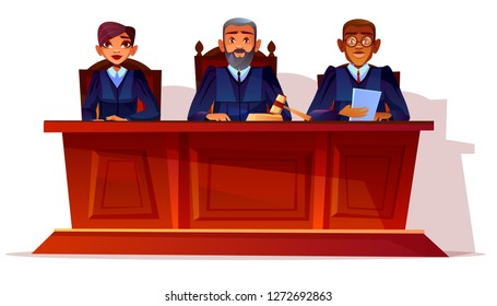 Judges at court hearing illustration. Prosecutor and legal secretary woman or assessor and black Afro American advocate in glasses sitting at table in blue court dress with gavel and documents