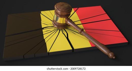 Judge's gavel and broken block with flag of belgium. conceptual  3D rendering