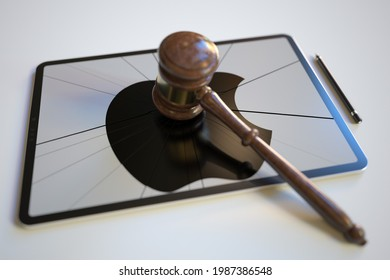 Judge's gavel and broken tablet computer screen with logo of apple inc. editorial conceptual  3D rendering