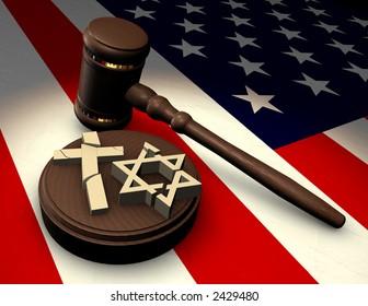 Judge's gavel smashing religious symbols of cross and star of David on an American flag