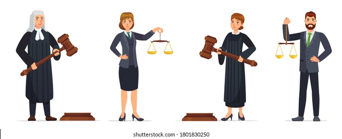 Judges and lawyers. Judge holding hammer and lawyer with scales of justice. Judicial workers, law cartoon  illustration set. Legal verdict, woman and man with gavel. Court worker characters