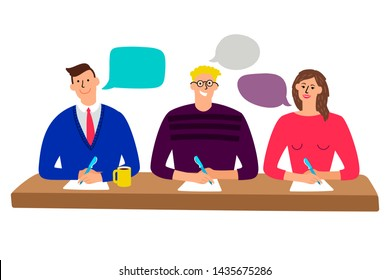 Judging committee. Judges table with quiz scoring men and woman people cartoon illustration