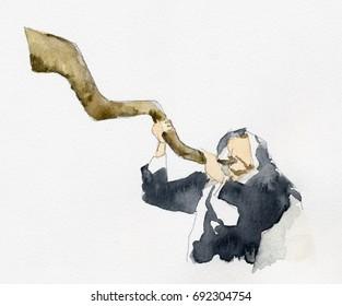Judi priest blowing horn in Yom Kippur festival watercolor illustration