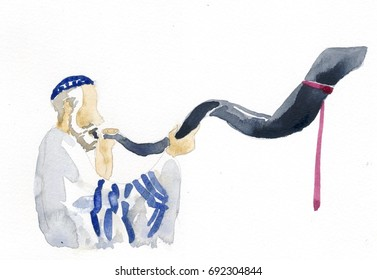 Judi priest blowing horn in Yom Kippur festival watercolor illustration