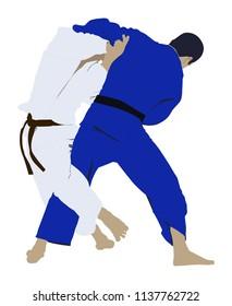 judo wrestling fight two judoka
