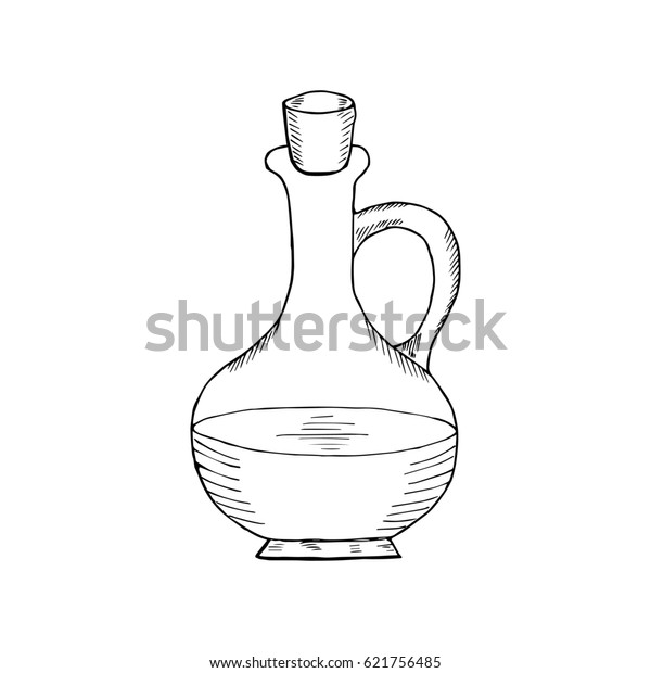 Jug Glass Liquid Cork Stopper Olive Stock Illustration 621756485