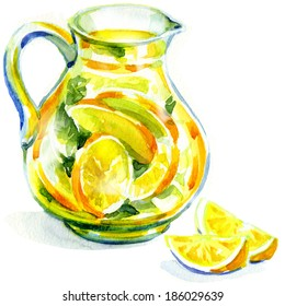 jug of lemonade with mint. watercolor painting