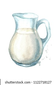 Jug with milk. Watercolor hand drawn illustration, isolated on white background