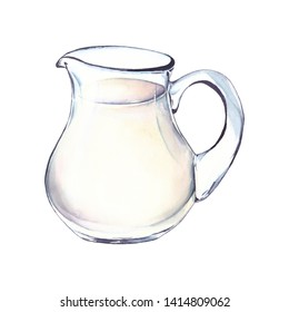 Jug with milk. Watercolor illustration, isolated on white background