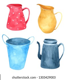Jug watercolor collection isolated on white background , Hand drawn character for Kids, Greeting Card , Cases design, Postcards, Product, Notebook and more