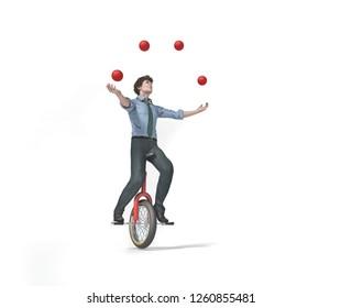 Juggler is balancing on bike. This is a 3d render illustration