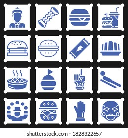 Juggling, hamburger, glove, burger, strenght, thai, energy snack, toboggan, clown, jelly icon set suitable for info graphics, websites and print media and interfaces