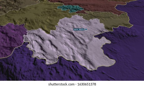Jugovzhodna Slovenija - statistical region of Slovenia zoomed and highlighted with capital. Colored and bumped map of the administrative division