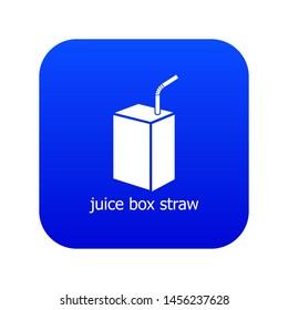 Juice box straw icon blue isolated on white background