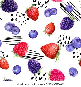 Juicy berries - raspberry, strawberry, black berry, blue berry. Seamless fun food pattern with random lines and dots - memphis positive art. Watercolor