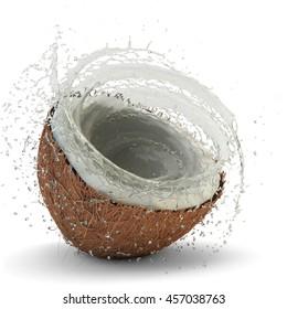 Juicy coconut milk splash in the half of fresh coconut isolated on white, 3d illustration