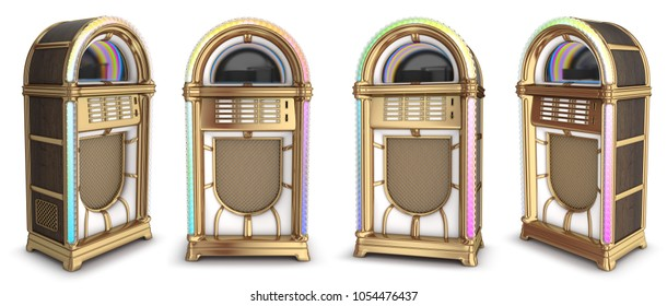 Jukebox. Wooden with brass finish. 3d illustration set isolated on white.