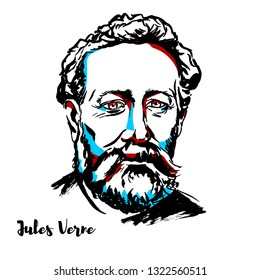 Jules Verne engraved portrait with ink contours. French novelist, poet, and playwright.