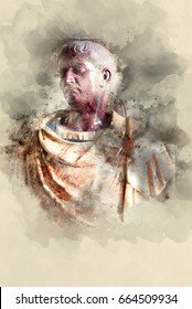 Julius Caesar Marble monument. Watercolor background.