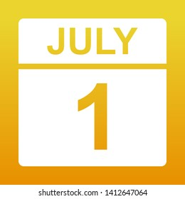 July 1. White calendar on a colored background. Day on the calendar. Yellow background with gradient. Illustration.