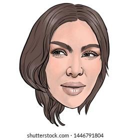 July 10, 2019 Caricature of American media personality, businesswoman, socialite, model, actress, Kimberly Kardashian West, Kimberly Kardashian Portrait Drawing Illustration.