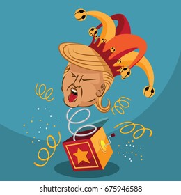 JULY 11, 2017: Illustrative editorial cartoon of Donald Trump as a Jack in the Box or fool with jester hat.