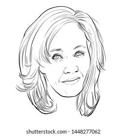 July 11, 2019 Caricature of Joanne Rowling, J. K. Rowling, Writer,  British novelist, philanthropist, film producer, television producer, screenwriter, Portrait Drawing Illustration.