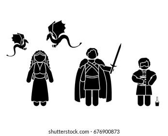 JULY 13, 2017: illustration of Tyrion Lannister, Daenerys Targaryen and Jon Snow (Game of Thrones television series)