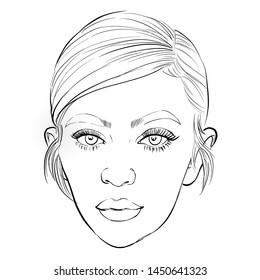 July 15, 2019 Caricature of American media personality, model, businesswoman, socialite Kylie Kristen Jenner, Kylie Jenner Portrait Drawing Illustration.