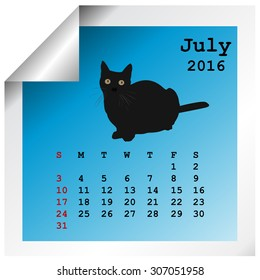 July 2016 calendar with black cat silhouette