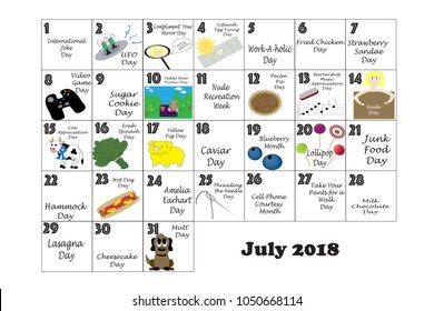 July 2018 monthly calendar illustrated and annotated with daily Quirky Holidays and Unusual Celebrations with Sunday start week.