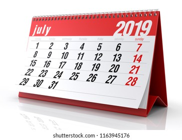 July 2019 Calendar. Isolated on White Background. 3D Illustration
