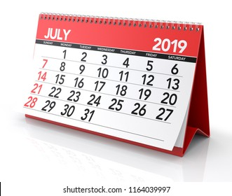 July 2019 Calendar. Isolated on White Background. 3D Illustration