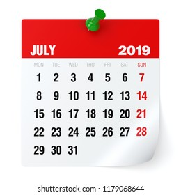 July 2019 - Calendar. Isolated on White Background. 3D Illustration